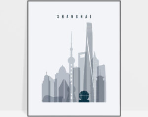 Shanghai skyline poster grey blue