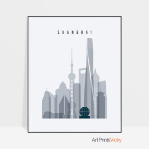 Shanghai skyline poster grey blue
