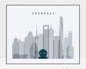 Shanghai skyline art grey blue landscape