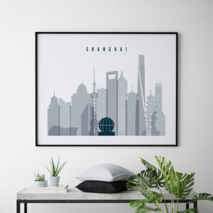 Shanghai skyline art grey blue landscape second