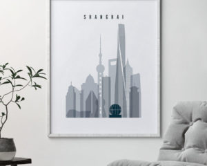 Shanghai skyline poster grey blue second