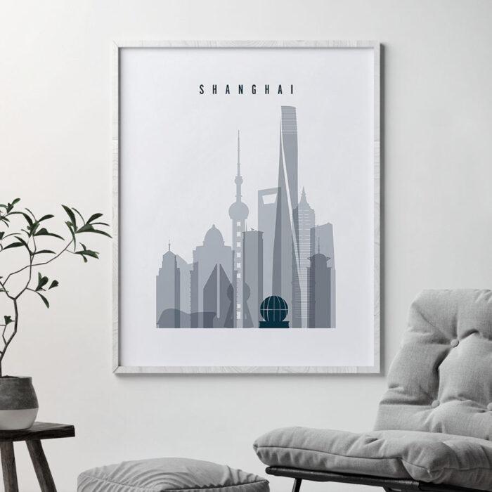Shanghai skyline poster grey blue second