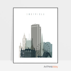 Sheffield art print skyline earth tones 4