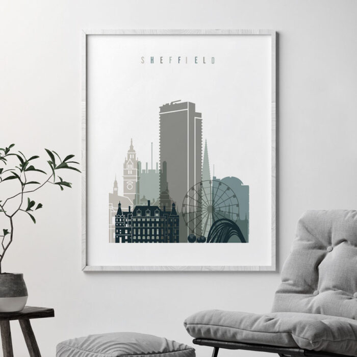 Sheffield art print skyline earth tones 4 second