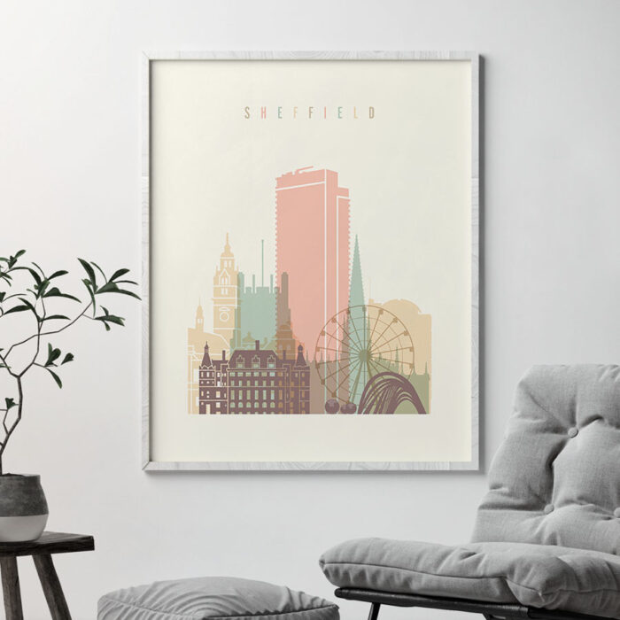 Sheffield poster skyline pastel cream second
