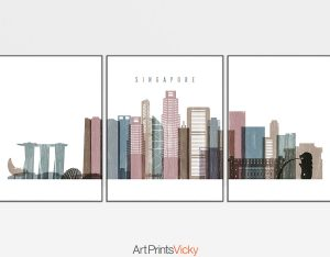 Singapore set of 3 prints skyline distressed 1