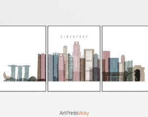 Singapore set of 3 prints skyline distressed 1