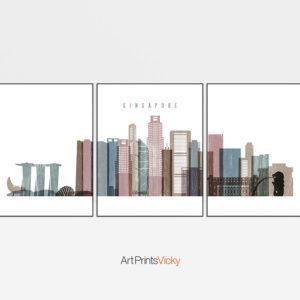 Singapore Set of 3 Prints Distressed 1
