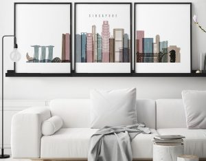 Singapore set of 3 prints skyline distressed 1 second