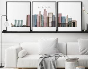 Singapore set of 3 prints skyline distressed 1 second