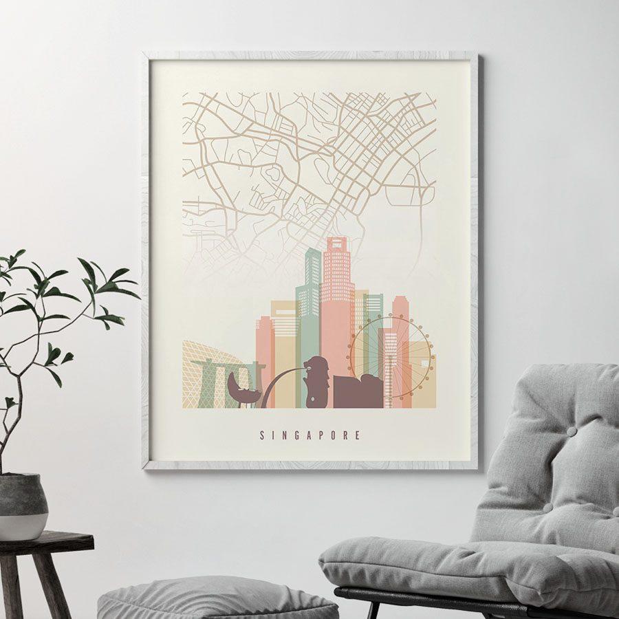 Singapore map print poster pastel cream second