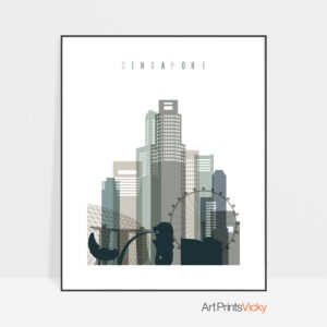 Singapore art print skyline earth tones 4