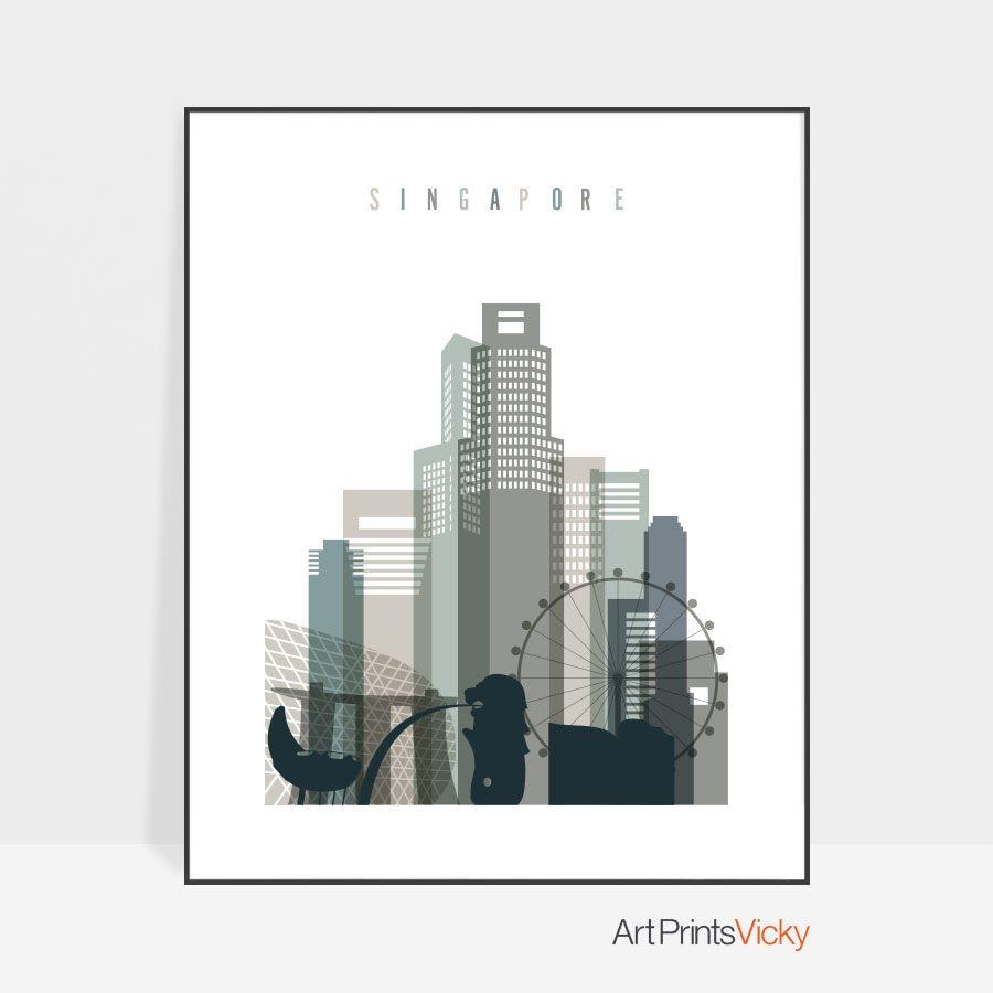 Singapore art print skyline earth tones 4