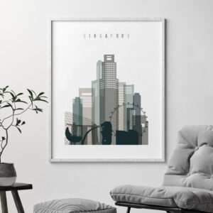 Singapore art print skyline earth tones 4 second