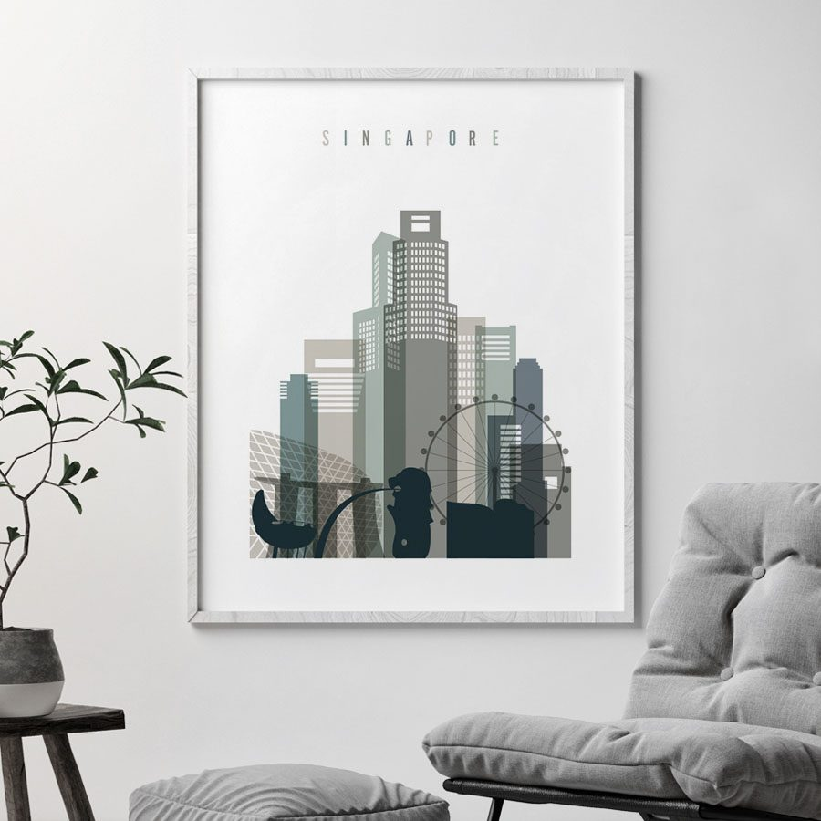 Singapore art print skyline earth tones 4 second