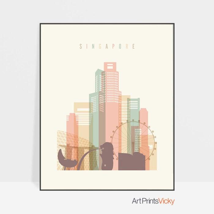 Singapore Skyline Art Print Pastel Cream