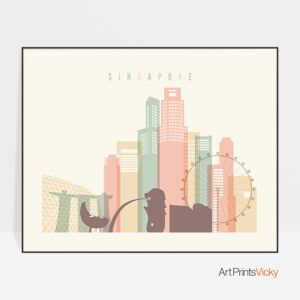 Singapore art print pastel cream landscape