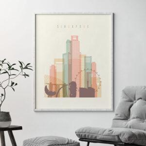 Singapore skyline art print pastel cream second