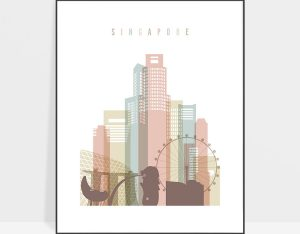 Singapore skyline wall art pastel white