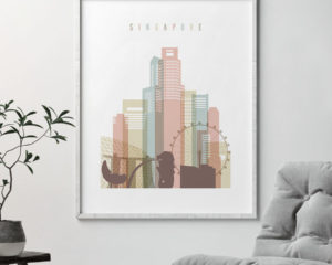 Singapore skyline wall art pastel white second