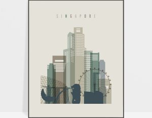 Singapore print skyline earth tones 1