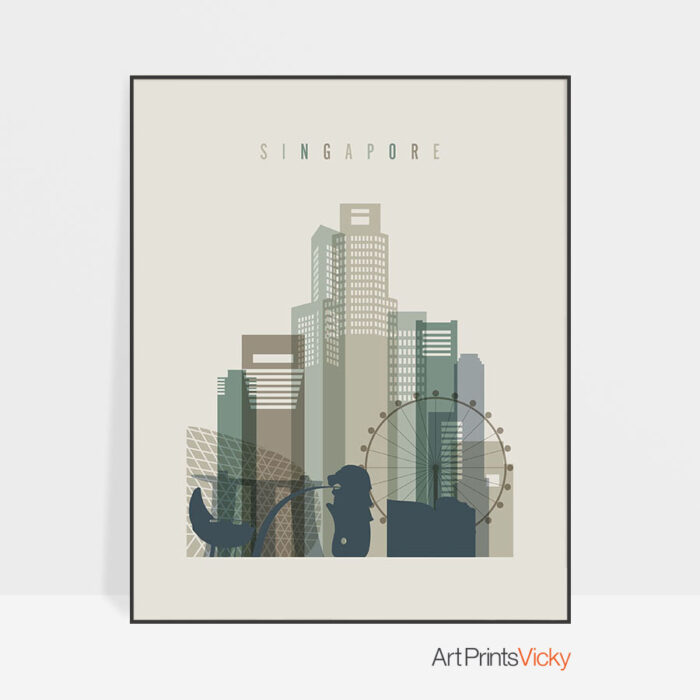 Singapore print skyline earth tones 1