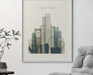 Singapore print skyline earth tones 1 second