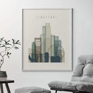 Singapore print skyline earth tones 1 second