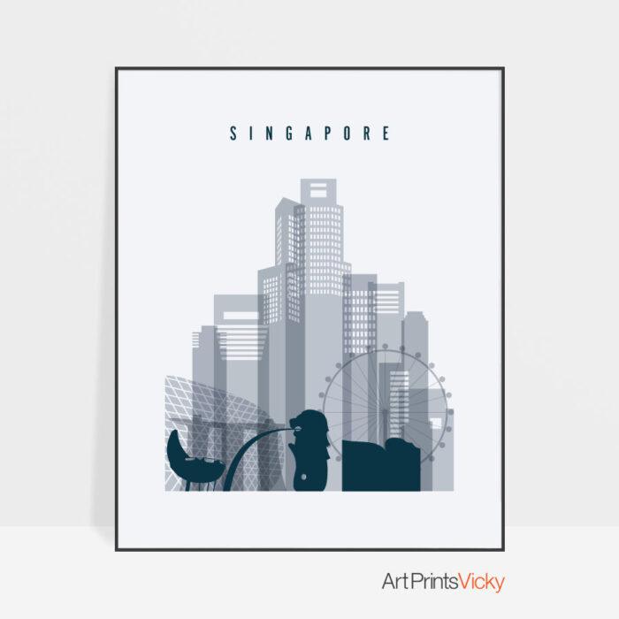 Singapore skyline poster grey blue