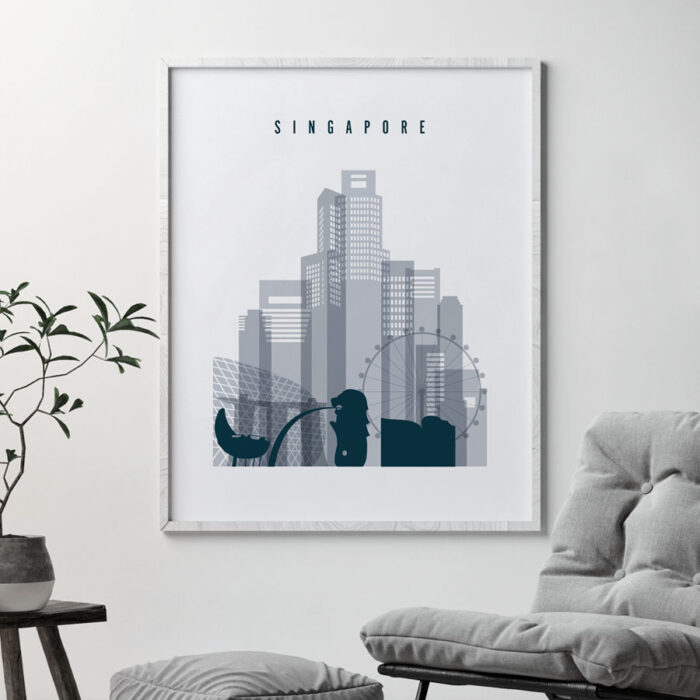Singapore skyline poster grey blue second