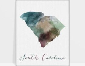 South Carolina State map print
