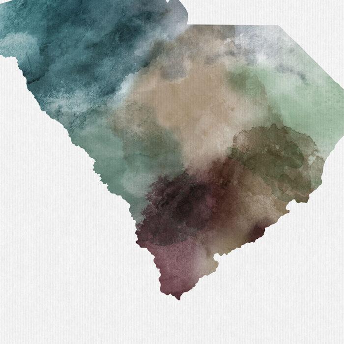 South Carolina State map print detail