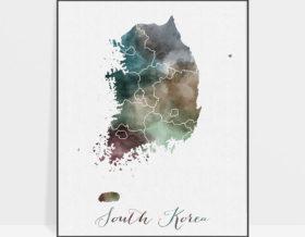South Korea map print
