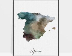 Spain map print