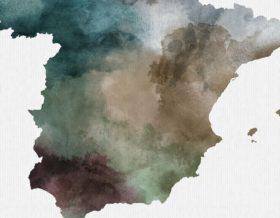 Spain map print detail