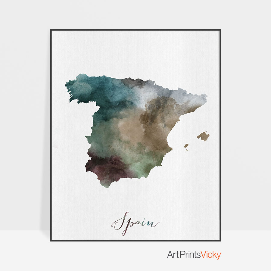 Map Of Spain For Printing.Spain Map Print