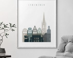 Stockholm art print skyline earth tones 4 second