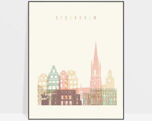 Stockholm art print pastel cream