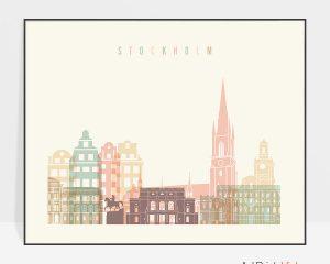 Stockholm travel poster pastel cream landscape