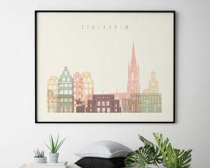 Stockholm travel poster pastel cream landscape second