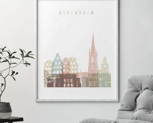Stockholm wall art pastel white second