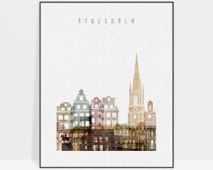 Stockholm skyline art watercolor 1