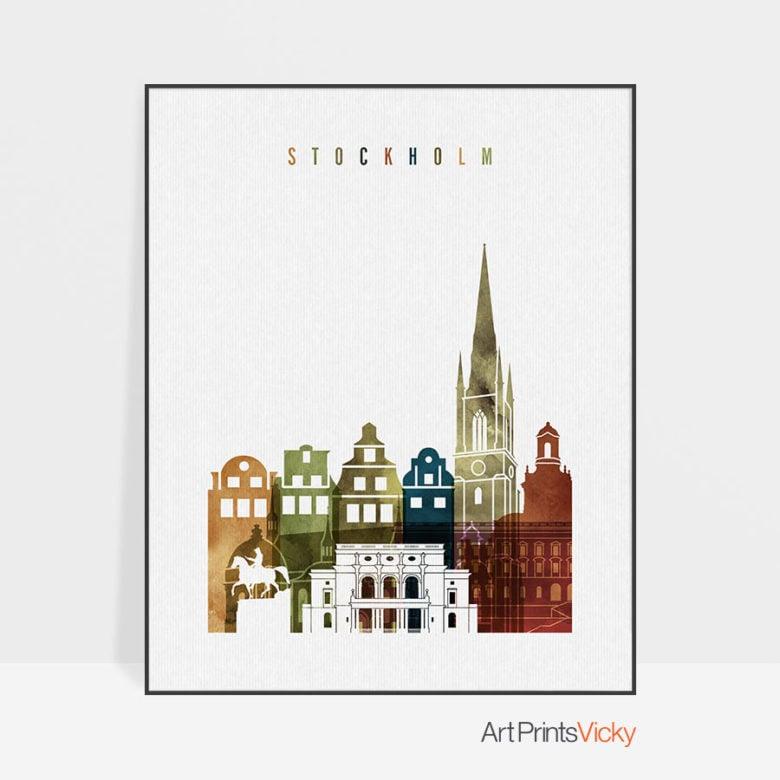 Stockholm art print watercolor 3