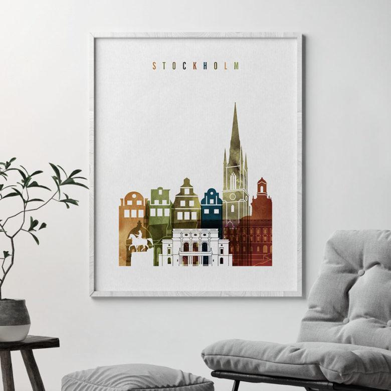 Stockholm art print watercolor 3 second