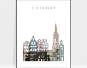 Stockholm skyline poster distressed 1