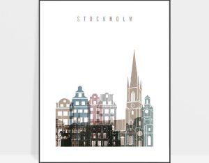 Stockholm skyline poster distressed 1