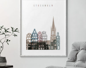 Stockholm skyline poster distressed 1 second