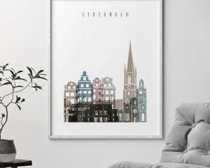 Stockholm skyline poster distressed 1 second