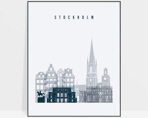 Stockholm skyline poster grey blue