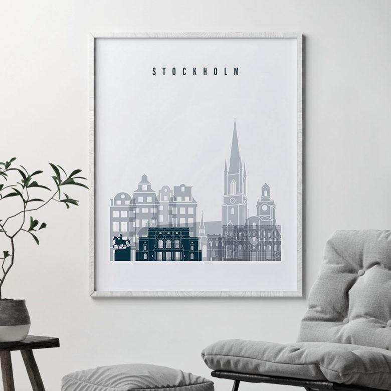 Stockholm skyline poster grey blue second